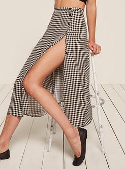 Vintage Grid Split A-line Skirt