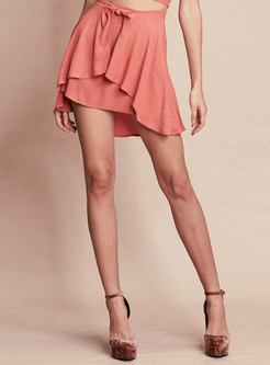 Pink Asymmetric Beach Mini Skirt