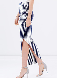 Chic Asymmetric Striped Split Skirt