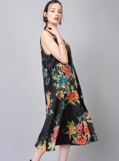 Vintage Flower Print Split Dress