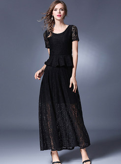 Black Lace Short Sleeve Top & Big Hem Skirt
