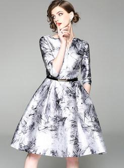 Ink Print V-neck Belted Skater Dress