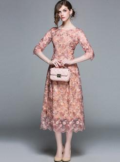 Elegant Embroidered Three Quarters Sleeve Skater Dress