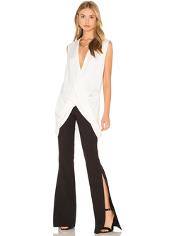 Black High Waist Split Flare Pants
