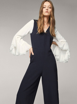 Elegant Slim Sleeveless V-neck Jumpsuits