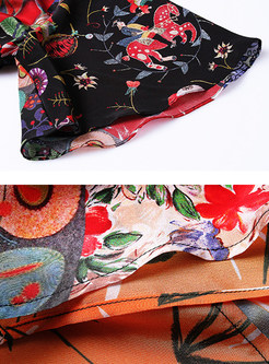 Hit Color Silk Asymmetric Hem Skater Dress