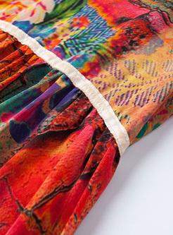 Chic Floral Print High Waist A-line Dress