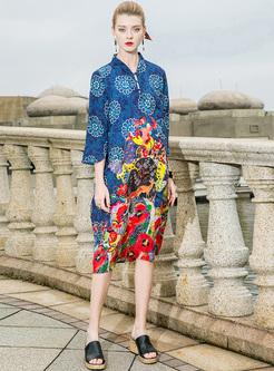 Ethnic Print Stand Collar Shift Dress
