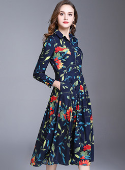 Floral Print Big Hem Skater Dress