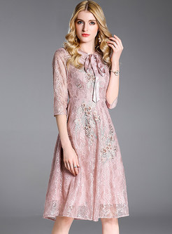 Pink Lace Embroidered Skater Dress