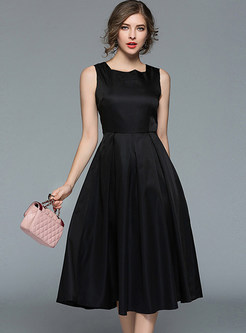 Black Sleeveless Gathered Waist Skater Dress