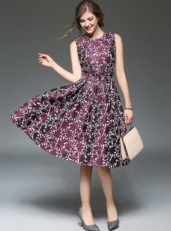 Jacquard Sleeveless Big Hem Slim Skater Dress