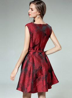 Vintage Jacquard Sleeveless Belted A-line Dress
