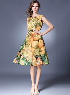 Chiffon Floral Print Belted Sleeveless Skater Dress
