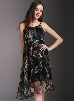 Black Sexy Floral Print Sleeveless Slip Dress