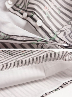 Striped Lapel Short Sleeve Shift Dress