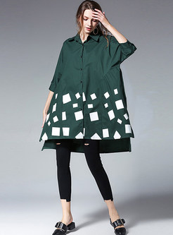 Loose Color-blocked Lapel Shirt Dress