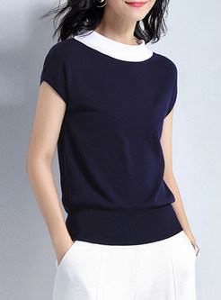 Brief Hit Color Short Sleeve Knitted Top