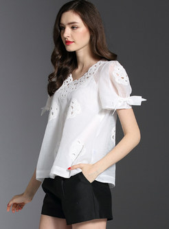 Hollow Out Embroidered Loose Blouse