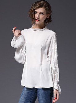 White Stringy Selvedge Stand Collar Blouse