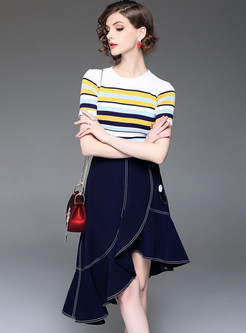 Striped Short Sleeve T-shirt & Asymmetric Hem Denim Skirt