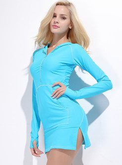 Stylish Slit Hooded One Piece Swimwear