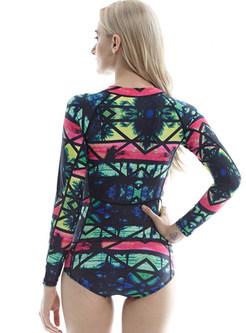 Multi-color Print Slim One Piece Swimwear