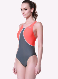Sport Backless Halter Neck One Piece Swimwear