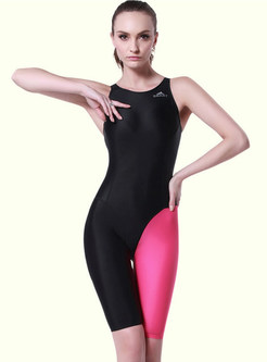 Hit Color Halter Neck Sport Swimwear