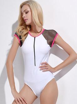 Mesh Splicing Short Sleeve One Piece Swimwear