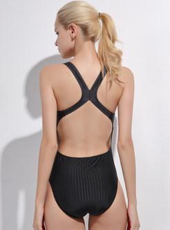 Stylish Multi-color Print Backless Swimwear
