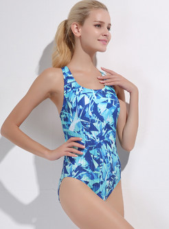 Asymmetric Geometry Pattern Print Swimwear