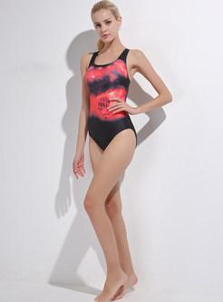 Stylish Contrast Color Scoop Neckline Swimwear