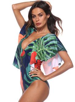 Sexy Floral Print Falbala V-neck Swimwear