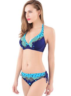 Dot Print Halter Neck Bikini