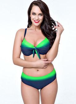 Sexy Gradient Color Bowknot Bikini