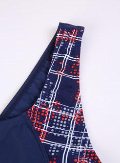Plain Geometric Pattern One-piece Swimwear