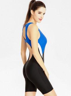 Brief Color-blocked Scoop Neckline One-piece Swimwear
