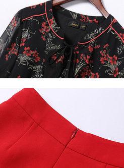 Fashion Chiffon Floral Print Two-piece Outfits