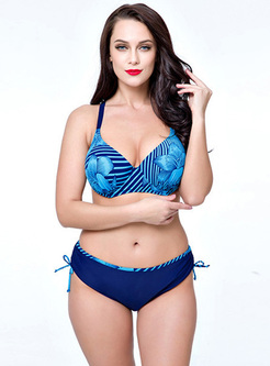 Sexy Print Tied Color-blocked Bikini