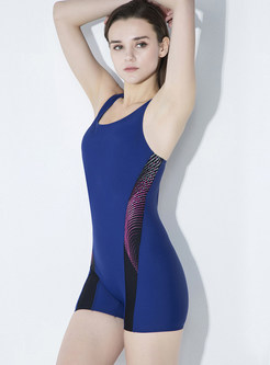 Brief Color-blocked Elastic Swimwear