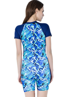 Conservative Digital Print Swimwear