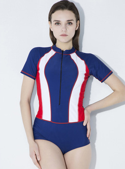 Brief Color-blocked One-piece Swimwear