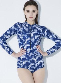 Chic Digital Print One-piece Swimwear