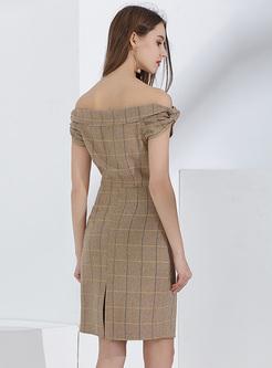 Elegant Slash Neck Bodycon Dress