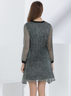 Green Print Mesh Slim A-line Dress