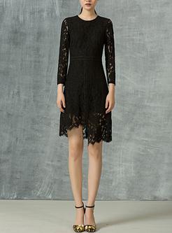 Party Lace Asymmetric Hem A-line Dress