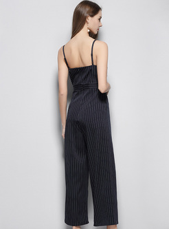 Blue Striped V-neck Jumpsuits