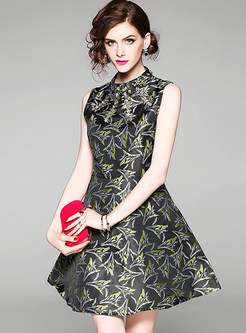 Nail Bead Jacquard Sleeveless A-line Dress