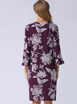 Elegant Floral Print Three-quarter Sleeve Dress
